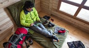 Working on an iPad inside a ski hut