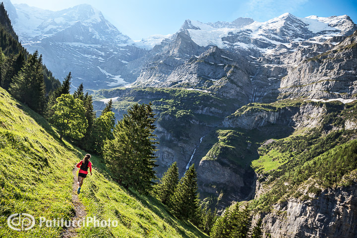 Trail running in Lauterbrunnen, Swiss Alps