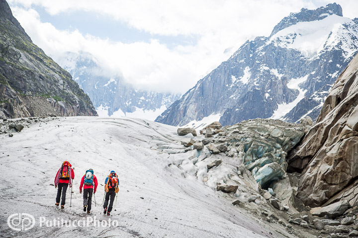 Climbers hiking on the Mer de Glace, Chamonix