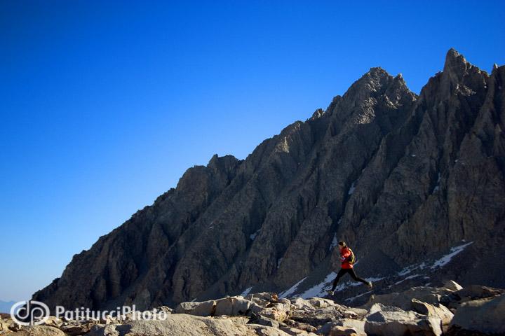 Trail running at Bishop Pass, California