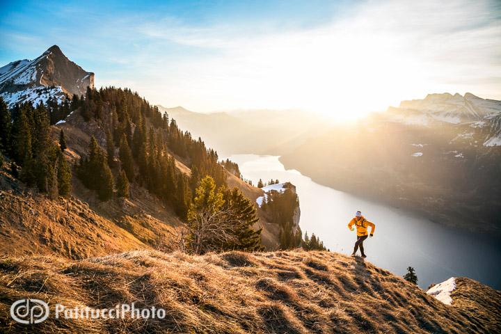 Trail running at sunrise, Interlaken, Switzerland
