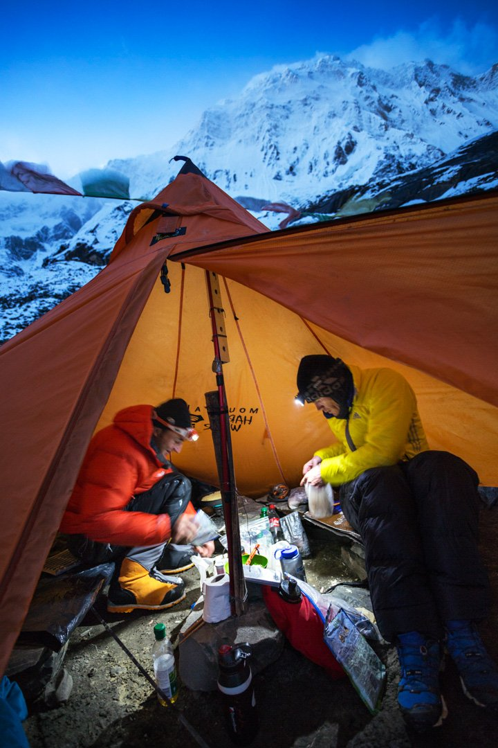 Ueli and Don Bowie inside the cooking tent at Annapurna Advance Basec&. & Ueli Steck Annapurna - PatitucciPhoto