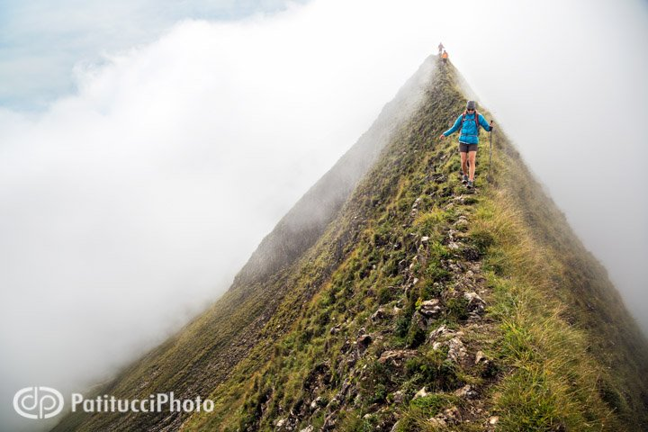 Hiking the Hardergrat in thick clouds
