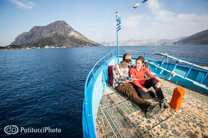 Climbers on ferry boat in Kalymnos