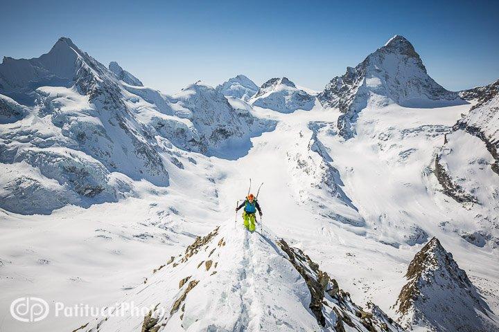 Skier climbing the Blanc de Moming