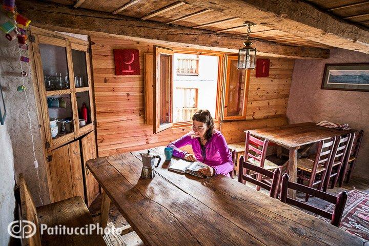Traveler inside lodge