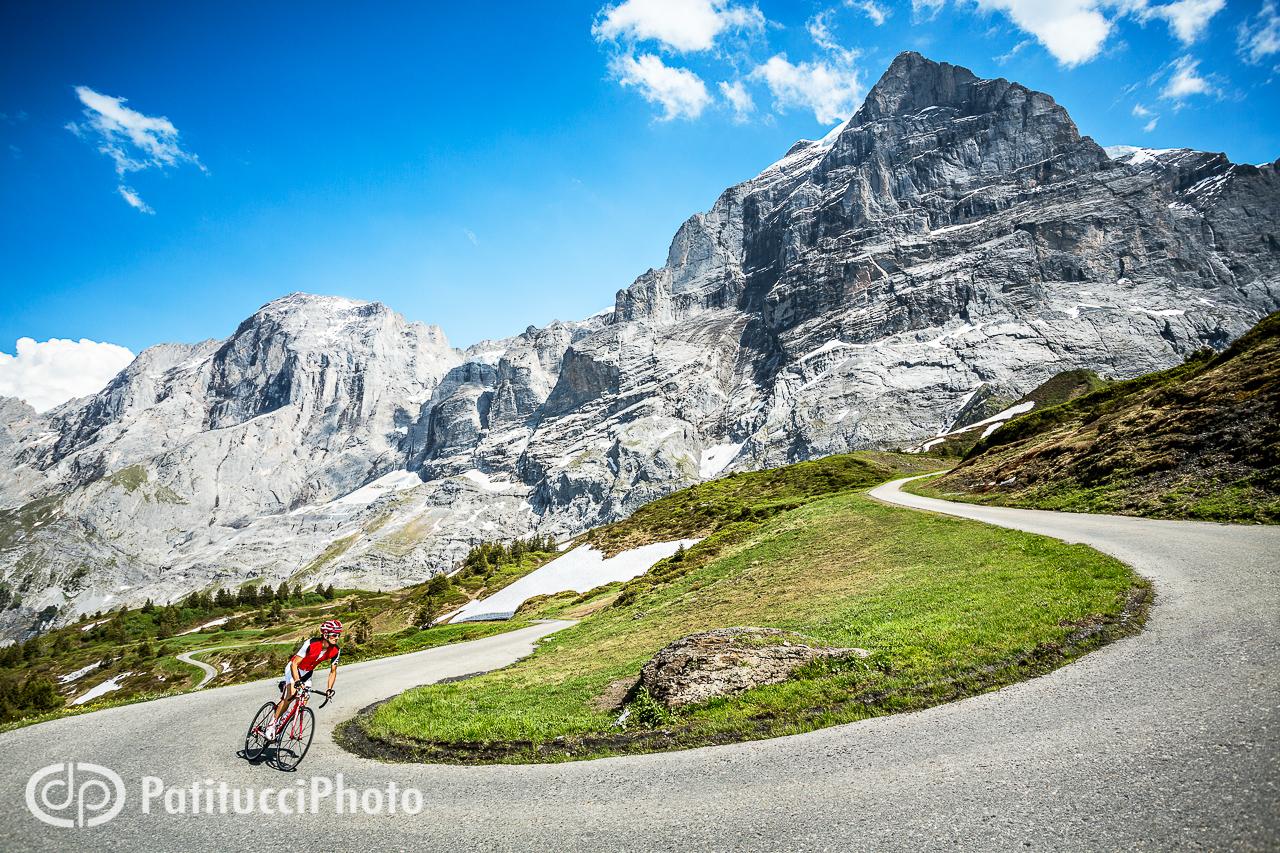 Road biking in the Swiss Alps