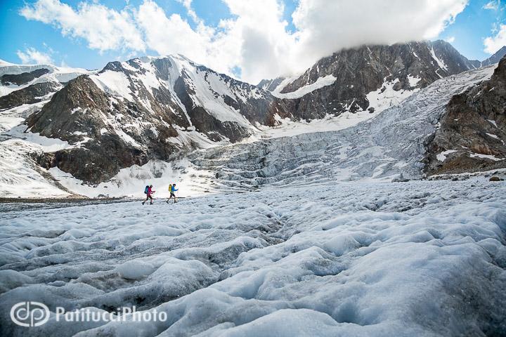 Hiking on a glacier, Switzerland
