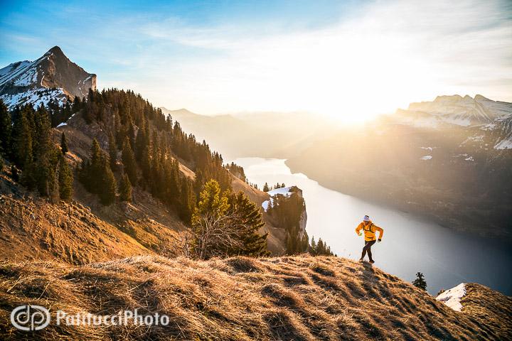 Trail running at sunrise