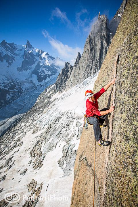 Climbing in the Envers des Aiguilles, Chamonix