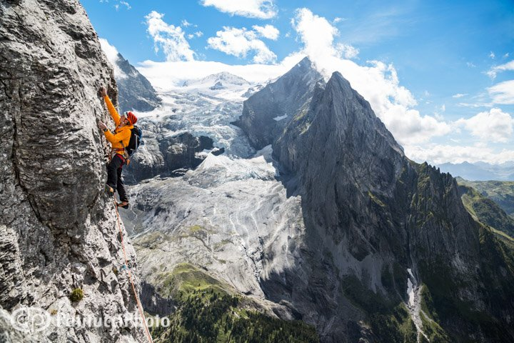 Simon climbing the Rosenlauistock, Engelhörner, Switzerland