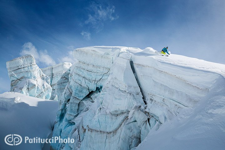 Skiing on a glacier next to crevasse