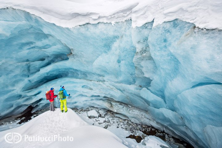 Exploring a glacier cave