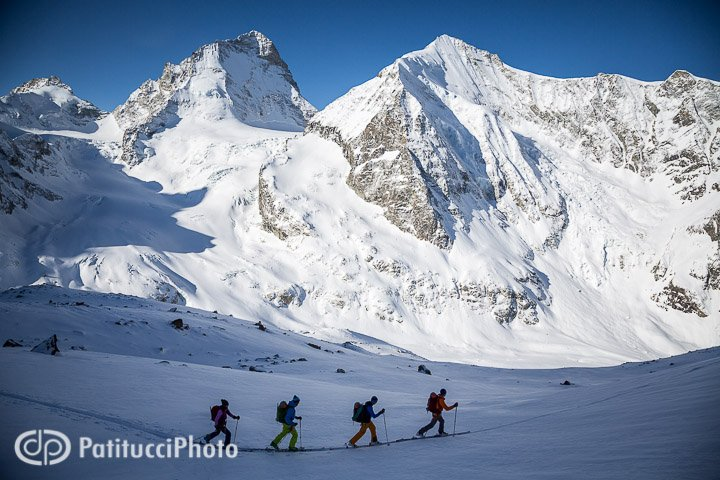 Backcountry skiing in the Swiss Alps