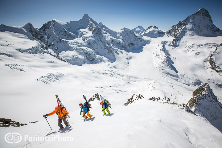 Skiers climbing the Blanc de Moming